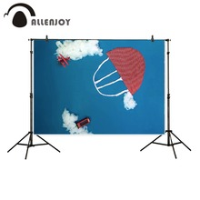 Allenjoy 5ftx7ft Children Photography Backdrop cartoon blue sky clouds airplane parachute fabric background for photo studio
