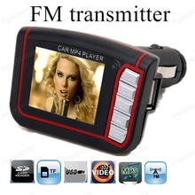 "1.8"" LCD wireless SD TF MMC card USB disk reader FM transmitter modulator MP4 player car remote control USB charger(China)"