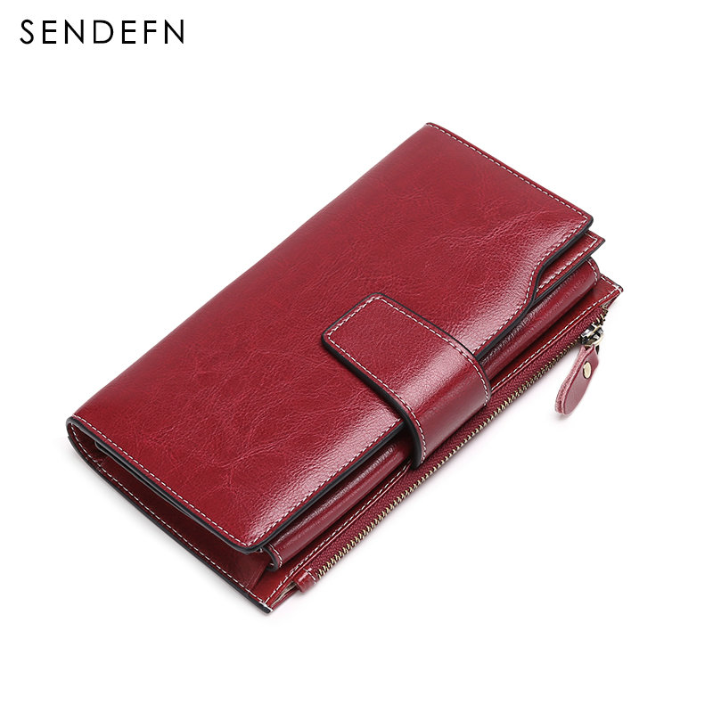 Retro Genuine Leather Wallet Women Clutch Long Multi Card Holder Wallet Coin Purse Female Zipper Buckle Money Bag For iPhone 7S<br>