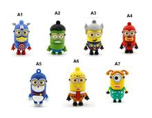 New fashion  USB Flash Drive USB 2.0  flash drive usb  pendrive  cartoon minionsPen Drive Stick 8GB Flash Memory U Disk FF-KS916