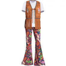Adult Men Women Halloween 60s 70s Hippie Clothes Ladies Hippy Fringe Tops Bell Bottom Pants Party Flare Outfit Costume For Girls(China)