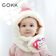 COKK Children Winter Hats For Girls Boy Cartoon Animal Monkey Kids Baby Hat Ear Neck Scarf Plus Velvet Hat Warm Snow Beanie Bone(China)