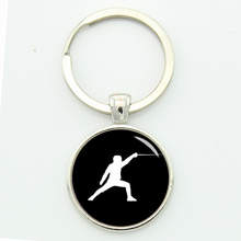 Design sport fencing sports events keychain black and white pattern glass Gem and alloy key chain men jewelry
