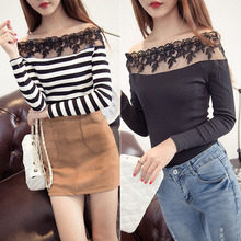 Summer Autumn Girls Women Sexy Skintight Striped Lace Spliced Slash Neck Pullover Full Sleeve Casual Blouses