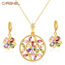 CARSINEL Fashion Multi-Color Zircon Stone Costume Jewelry Sets Gold-color Necklace&Hoop Earrings Accessories for Women Wedding