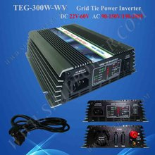 PV On Grid Inverter 22V-60VDC to 110VAC, On Grid Solar Power System Inverter with Wide Voltage 300W(China)