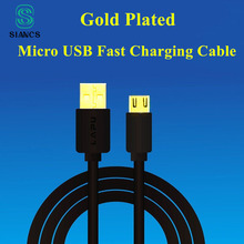 Micro USB Cable Gold plated Data Sync charger Fast charging short 13cm 1m 2m 3m long Android  Phone cable