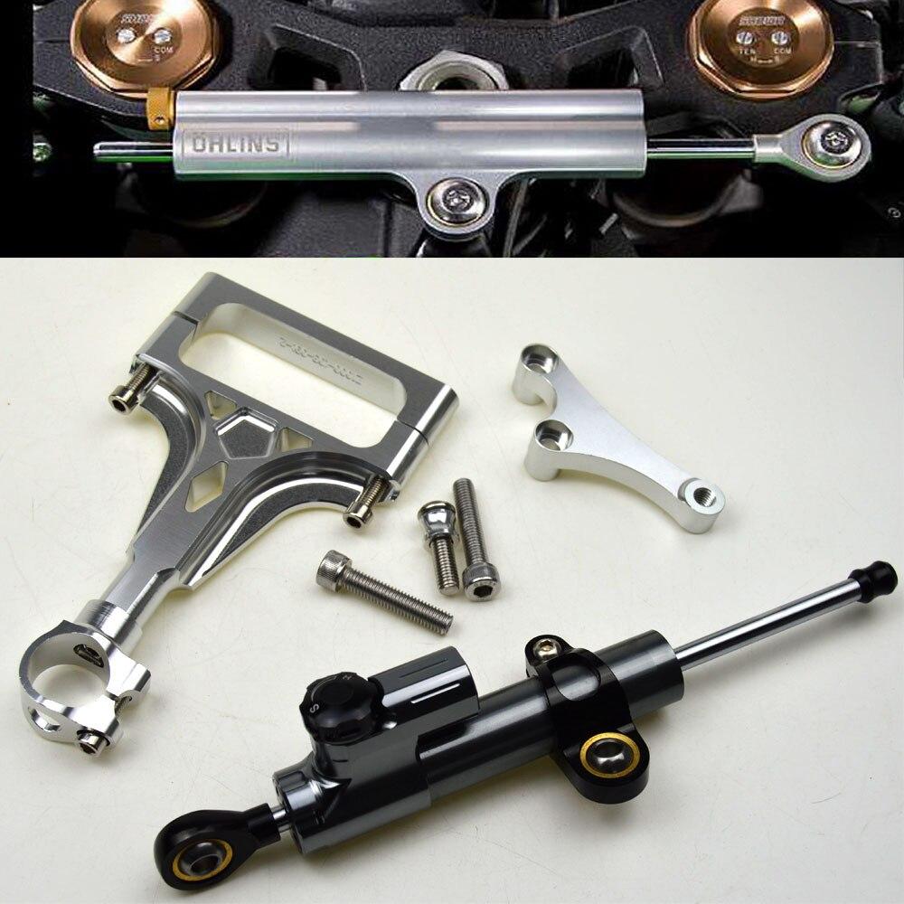 CNC Aluminum Adjustable Motorcycles Steering Stabilize Damper Bracket Mount Kit  For Kawasaki Z1000 Z750 2003-2009 2004 2005<br>