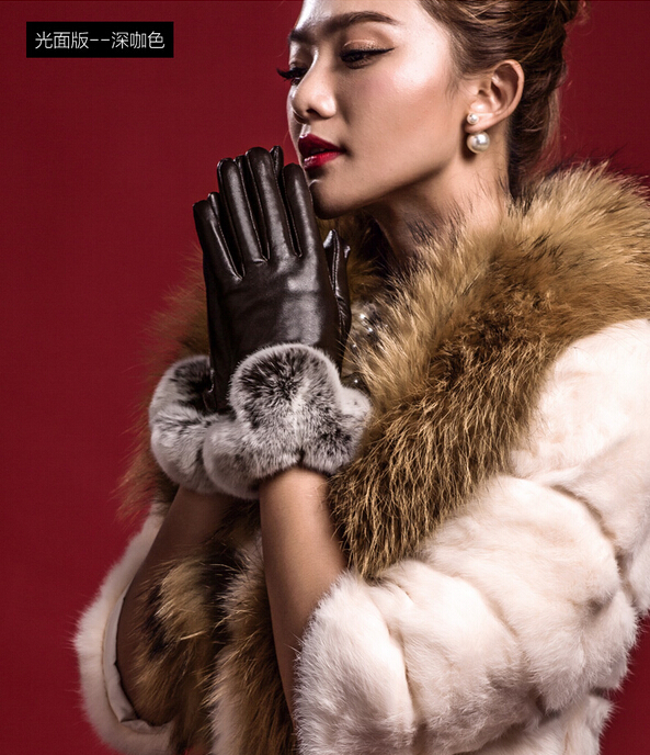 New Arrival Warm Mitten Women Gloves Causal Rabbit Fur Wrist Gloves Soft PU Leather With Fur Covered Finger Gloves(China (Mainland))