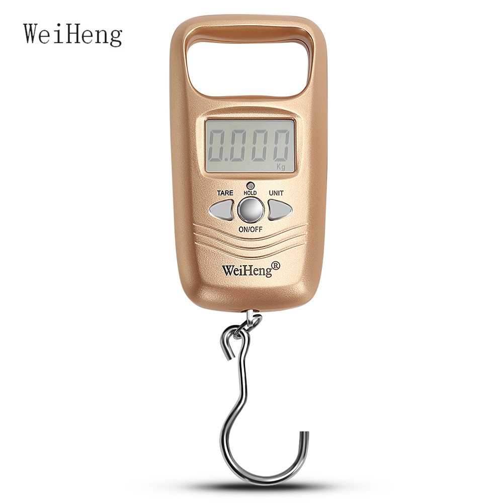 WeiHeng 10g / 50kg LCD Display Digital Hanging Scales Portable Electronic Luggage Scale Weight Fishing Hook Weighing Scales(China)