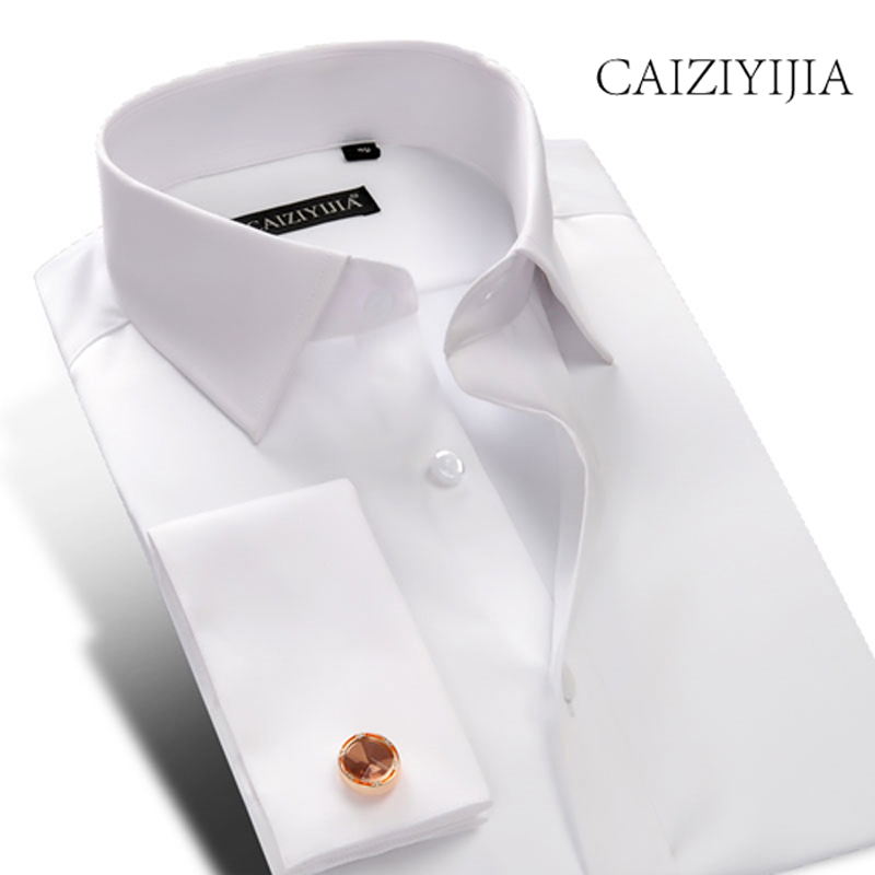 CAIZIYIJIA 2018 New Designer French Cuff Dress Shirt with Cufflinks High Quality Solid Long Sleeve Wedding Dress Business Shirt