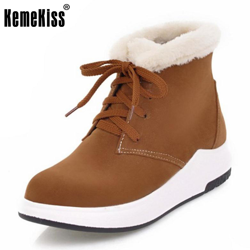 KemeKiss Size 33-43 Office Lady High Heel Boots Women Platform Lace Up Wedges Boot Women Fashion Daily Dating Leisure Footwears<br>