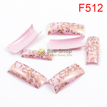 100pcs Half Cover Nail Art Luxury Painting Gold Color Strips Patterns Work Acrylic False Nail Tips Fake Nail Tip BF512(China)