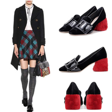 Saling New Designer Red Fur Chunky Heels Pumps Square Toe Buckles Women Mary Janes Pumps Zapatos Mujer Party Wedding Shoes Woman