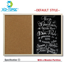 Free Shipping 2017 Natural Bulletin Combination Cork Board and Chalk BlackBoard Kitchen Office Supplier 30*40cm Home Decorative