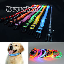 8 Color S M L Size Glow LED Dog Pet Cat Flashing Light Up Nylon Collar Night Safety Collars Supplies Products Freeshipping(China)