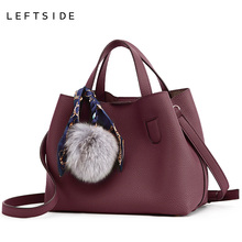 LEFTSIDE 2 Pieces Set Female Leather Composite Bag Scarves designer Handbag high quality Girls Shoulder Messenger Bag for Women(China)