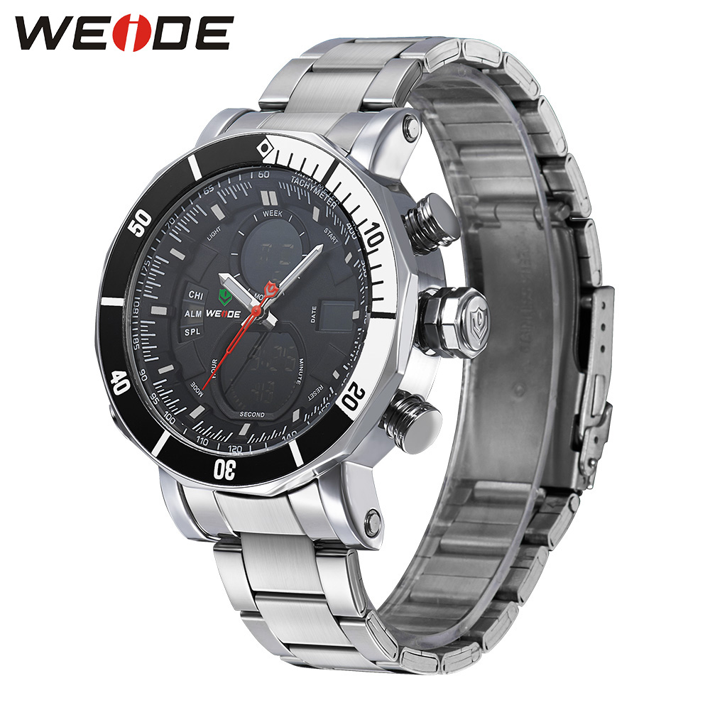 WEIDE Military Army Stainless Steel Back light Quartz Wristwatch Water Resistant Multiple Time Zone Watch for men <br>