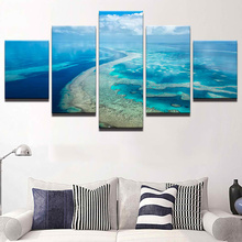 Modern Home Decor Modular Canvas Pictures HD Printed 5 Pieces Blue Sky Ocean Clouds Wave Seascape Painting Room Wall Art Framed