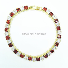 New Spring High Quality Brand Gold color Zircon Bracelet Sapphir Champagne Gem Cubic Zirconia red Tennis Jewelry For Women