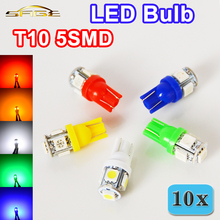 10 PCS T10 5SMD 5050 Car LED Auto Lamp 12V 1W XENON Light bulbs W5W 194 5 Colors White / Blue / Red / Yellow / Green