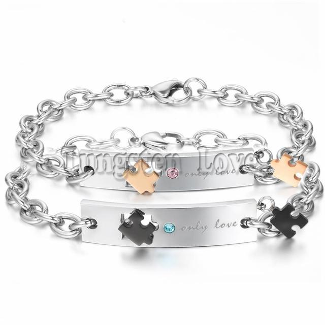 """Mode Romantische """"nur liebe"""" Puzzle Armband Kristall Edelstahl ..."""