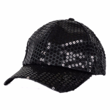 Glitter Hip Hop Dancer Hat Sparkling Bling Sequin Baseball Club Cap Black(China)
