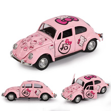 Girls Favorite!!Cute Pink Kitty Cat Alloy car Beetle inertia Pull Back car toys for children