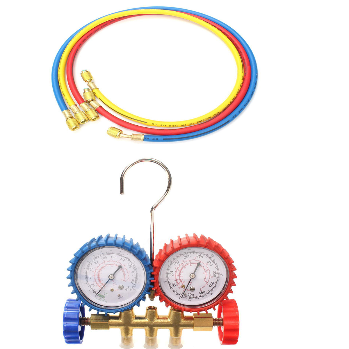 Mayitr Refrigeration Manifold Gauge Set with 85cm Charging Hose For R134A R12 R22 R404z Air Condition<br>
