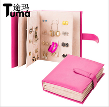 2017 Pu Leather Stud Earrings Collection Jewelry Book Pattern Portable Jewelry Page Jewel Display Creative Jewelry Storage Box