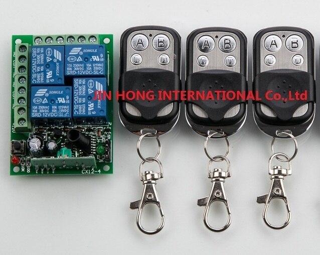 NEW DC12V 4CH 10A Radio Controller RF Wireless Push Remote Control Switch 315 MHZ 433 MHZ teleswitch 3 Transmitter +1 Receiver<br><br>Aliexpress