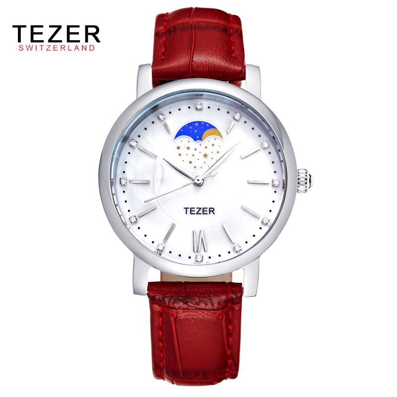 TEZER Women Fashion Casual Leather Quartz Watches Reloj Mujer Brand Luxury Watch Women Dress Wristwatches Relogio Feminino AA326<br><br>Aliexpress
