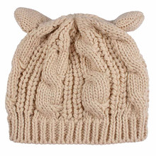 Women Lady Fashion Cat Ears Cute Hat Hemp Flowers Knitted Beige Coffee Red Yellow Winter Warm Hat(China)