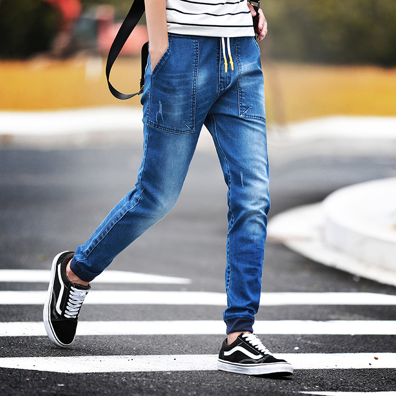 New 2017 Fashion Brand Mens Jeans Blue Gray Casual Slim Fit Skinny Jeans Men Biker Denim Jeans Pants Drawstring Joggers Big 5XLОдежда и ак�е��уары<br><br><br>Aliexpress