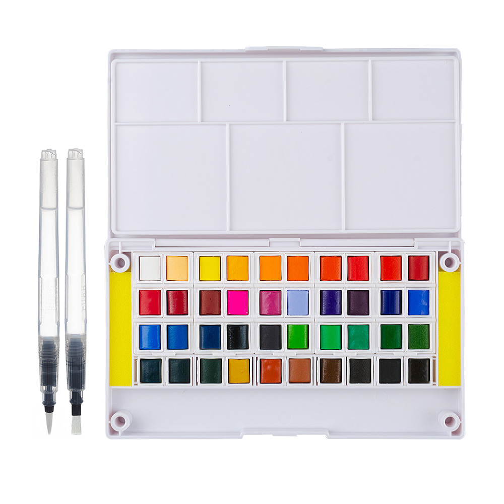 Watercolor Solid Pigment Paint Set 40 Colors with a Separate Palette and Two Water Painting Brush for Art Drawing<br>