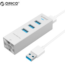 ORICO ASH3L-U3-SV Aluminum 4 Port USB3.0 Hub with a RJ45 Ethernet Port for Super Pole, Laptop, Desktop and Other Devices(China)