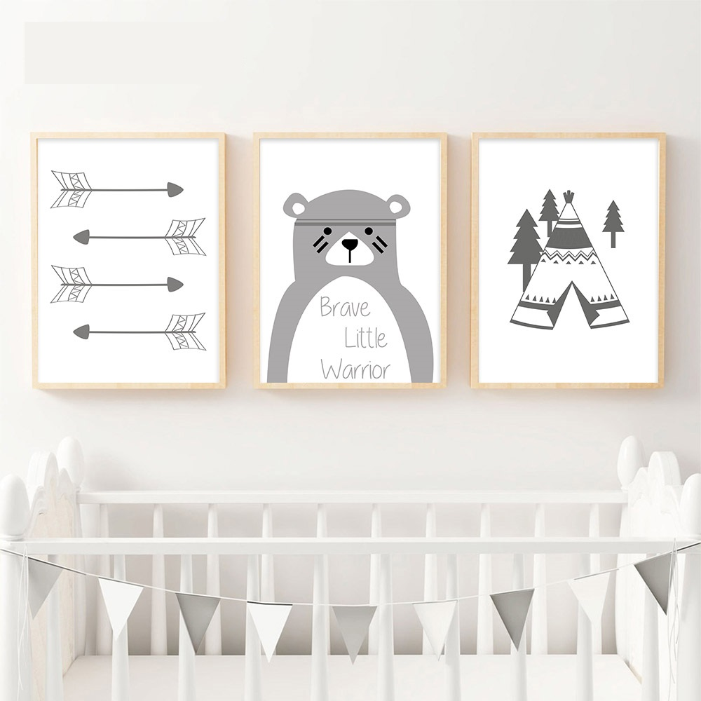 Tribe-Bear-Wall-Art-Canvas-Posters-Cartoon-Nursery-Prints-Nordic-Style-Painting-Wall-Pictures-Children-Bedroom(2)