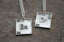20pcs Br Ba Chemical Symbol Necklaces, set of two, inspired by Breaking Bad jewelry silver antique jewelry gift