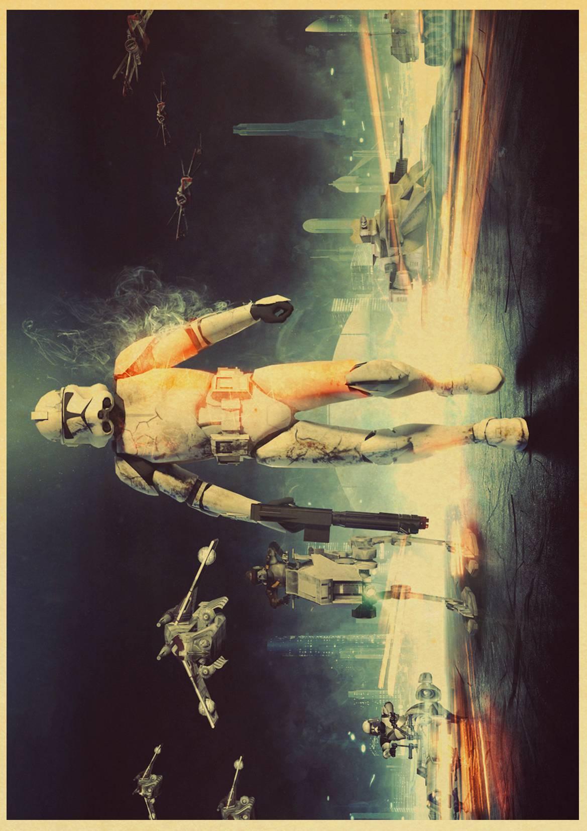 Retro Kraft Paper Poster Star Wars Poster Retro Art Wall Home ...