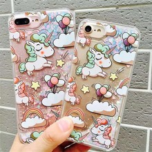 Cartoon Unicorn Horse Cover Dynamic Glitter Liquid Star Phone Cases Cover For Samsung Galaxy S5 S6 S6Edge S7 S7Edge Note3/4/5