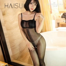 Buy 2018 Haisum High Waisted Open Crotch Thin Tights Collant Women Pantyhose Sexy Stockings Oil Shiny Gloss Shoulder Strap Hn79