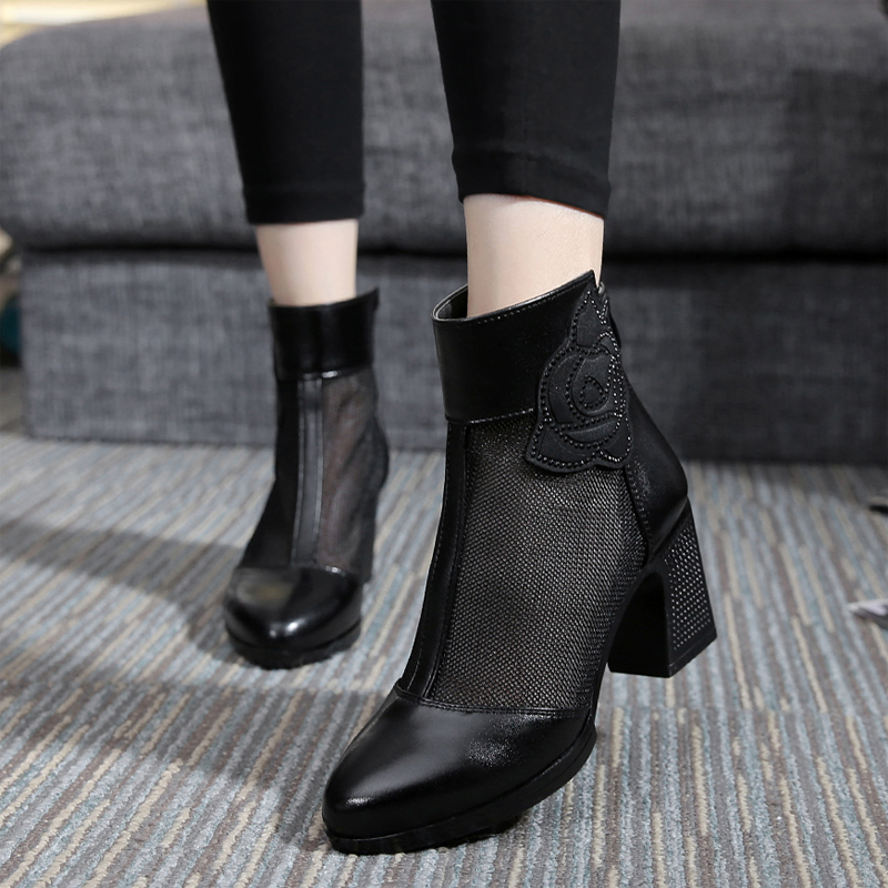 women summer 2017 ankle boots for women black ankle womens boots genuine leather lace autumn spring high heel boots <br>