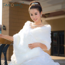 Hot Sale Warm faux fur Stoles Wedding Wrap Winter Wedding Bolero Jacket Bridal Coat Accessories Wedding Cape Coat ASPS-1027(China)