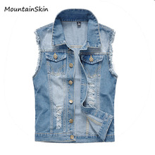 2017 New Vintage Design Men's Denim Vest Male Slim Fit Sleeveless Jackets Men Brand Hole Jeans Waistcoat Plus Size S-6XL,LA035