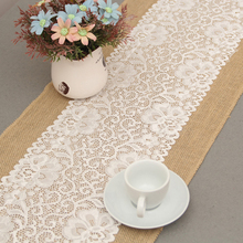 1pcs jute with middle lace table runner Burlap Lace Hessian Table Runner Jute Country Outdoor Wedding Party Decor Home Textile