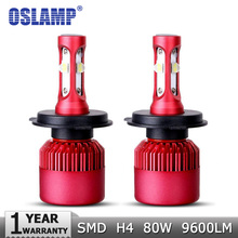 Oslamp H4 High-Low Beam LED Car Headlight Bulb CREE SMD Chips 80W 9600LM per Pair 6500K Auto Headlamp Light H4 Car Bulbs 12v 24v(China)