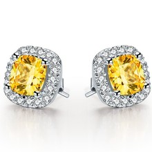 Sterling Silver 2CT/Pieces Cushion Yellow Synthetic Diamonds Earring Stud for Female Classic Push Back Earrings