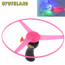 UTOYSLAND Colorful Funny Pull String Colorful LED Light Up Frisbee Flying Saucer Disc Kids Toy As Children New Year Gift