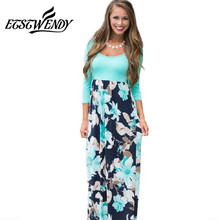 Buy ETST WENDY Autumn 2018 Elegant Women Dresses O-neck Patchwork Printed Maxi Dress Plus Size Women Clothing Pink Green Vestidos for $12.73 in AliExpress store