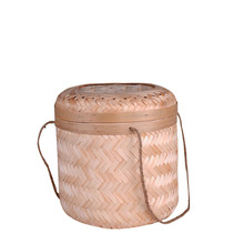 Caioffer Handmade Lidded Bamboo Storage Basket Femme 2017 Small Panier For Tea Fruit Vegetable Egg Candy Picnic Cestas CX018(China)